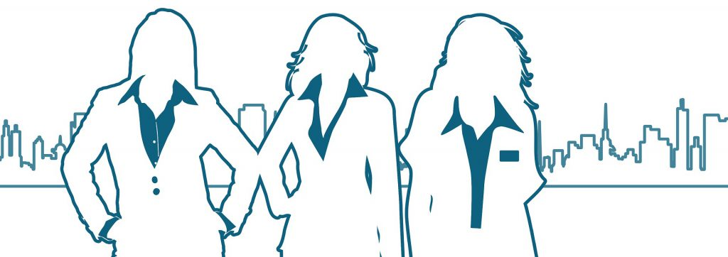 Graphic outline of 3 women Medical Record Review Experts against city skyline.