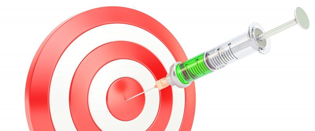 Medical syringe entering a bullseye signifies accuracy.