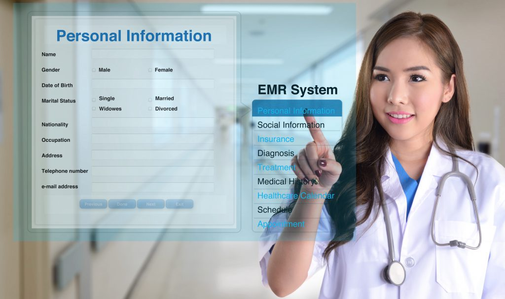 Medical professional performs Electronic Medical Records Review on futuristic glass monitor screen.